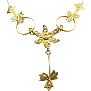 Antique 14K Yellow Gold & Seed Pearls Lavaliere