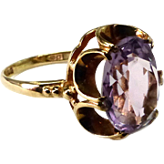Antique Victorian Belcher Set 2 ½+ ct Amethyst Lady's Ring 9 ct Yellow Gold