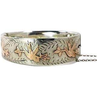 Sterling Silver Engraved Hinged Bangle with 9 K Rose Gold Songbirds ~ Hallmarked Chester, England ~ Date Letter 1959