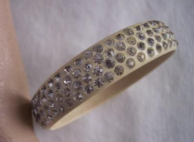 SPARKLING Vintage CELLULOID Bangle with Rhinestones Four Rows Mint!
