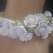 FUN Vintage CELLULOID and Vintage Plastic Bracelet Dangling Floral Motif