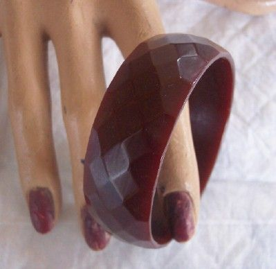 Vintage BAKELITE Bangle Faceted Chocolate Brown Bakelite Stunning!