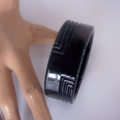 Vintage LUCITE Bangle Carved Deeply Jet Black Stunning!