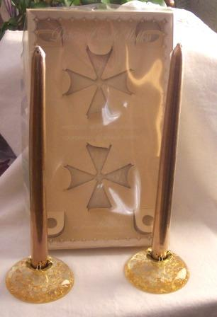 Retro LUCITE Candles and Confetti Lucite Candle Holders Mint in Original Box!