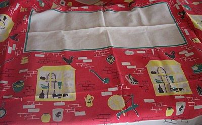 Vintage Tablecloth Kitchenware Theme Cotton 52 x 64 Mint!