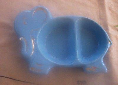 ADORABLE Vintage Ceramic Child's Feeding Dish Elephant Motif Mint!