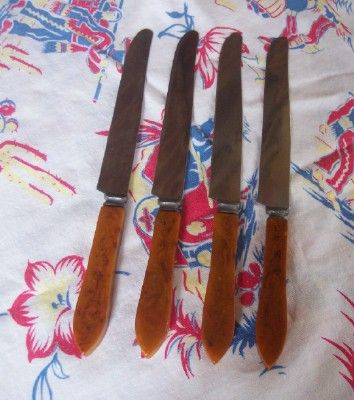 Vintage BAKELITE Kitchenware Flatware Knives Set of 4 Art Deco Design