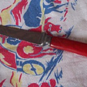 UNIQUE Vintage BAKELITE Kitchenware Grapefruit Knife Cherry Red Bakelite