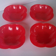 Vintage PLASTIC Bowls, Set of 4, Red Vintage Plastic, Marked LUSTRO-WARE