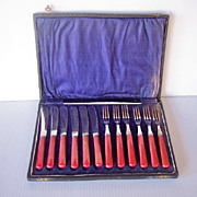 Vintage BAKELITE Kitchenware Flatware Hors D'Oeuvres Set, Svc. for 6, Red Bakelite, Marked FIRTH Staybrite, Mint in Box!