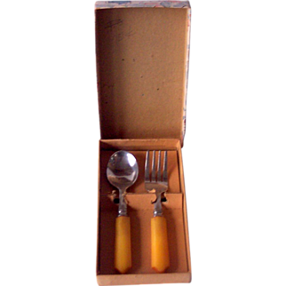 Children's Vintage BAKELITE Flatware Set Fork and Spoon, Mint in Box!