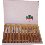 Vintage BAKELITE Kitchenware Flatware Appetizer or Desert Set Marked ROSTFREI Svc for 6 Mint in Box!