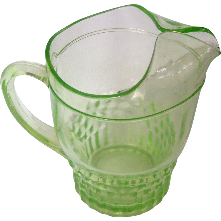 Green Depression Glass Vintage Glass Pitcher Mint!