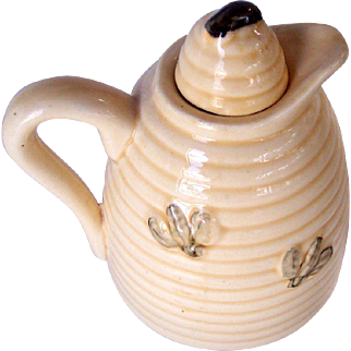 Vintage Honey Pot Beehive Pattern with Bees Glazed