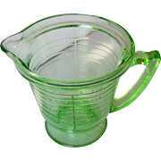 Vintage Depression Glass Measuring Cup Green Depression Glass 2 Cups Marked HANDIMAID