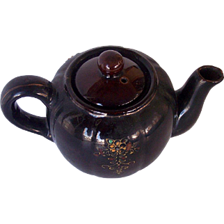 Vintage Teapot with Raised Floral Design Chocolate Brown Glazed