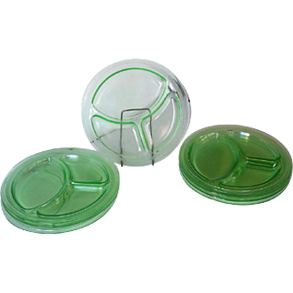 Vintage Depression Glass Grill Plates Green Set of 8 Mint!