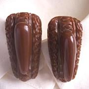 GORGEOUS Vintage BAKELITE Dress Clips Art Deco Design Carved Deeply Pair - Chocolate Brown!