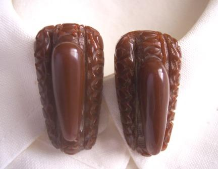 GORGEOUS Vintage BAKELITE Dress Clips Art Deco Design Carved Deeply Pair - Chocolate Brown!