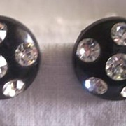 DAZZLING Vintage Plastic Earrings with RHINESTONES