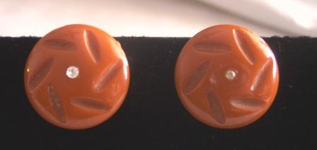 Vintage BAKELITE Earrings Carved Deeply with Rhinestone
