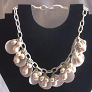 "Vintage CELLULOID Necklace Choker Dangle Style ""Shell"" Motif with Faux Pearls!"