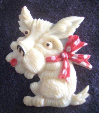 Vintage CELLULOID Scottie Brooch with Red Polka Dot Bow!