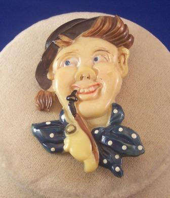 UNIQUE Vintage CELLULOID Brooch Man Smoking a Pipe Fabulous Molded and Painted Details!