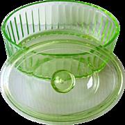 Vintage Green DEPRESSION Glass Refrigerator Dish Covered, Oval Shape
