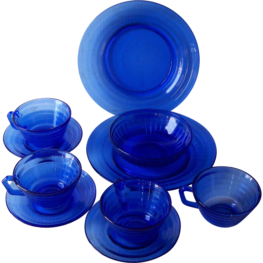 Vintage DEPRESSION Glass Cobalt Blue MODERNTONE Pattern Plates, Cups, Saucers, Bowl 10 Pieces Mint Condition!