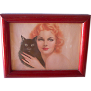"Vintage Alberto VARGAS Illustration of 1939 Watercolor, ""Two Cats"" Framed, Mint Condition"