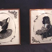 Vintage SILHOUETTES Pair Reverse Painted Mint Condition!