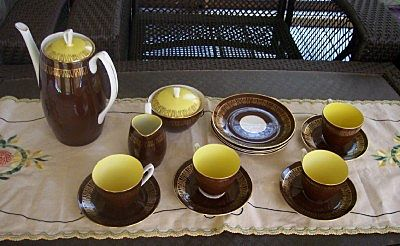 Vintage China Coffee or Tea Set Complete Service for Four 15 Pieces Marked CHODZIEZ Made in Poland Mint!