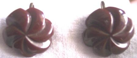 GORGEOUS Vintage BAKELITE Earrings Carved Deeply Floral Motif!