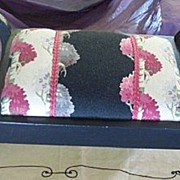 Vintage FOOTSTOOL Mahogany with Vintage Barkcloth Fabric Mint!