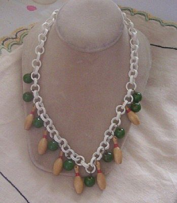 FABULOUS Vintage BAKELITE and Wood Necklace Dangle Necklace Bowling Theme Celluloid Chain!