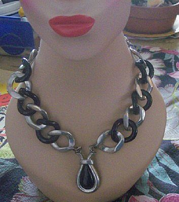 UNUSUAL Vintage Necklace White Metal and Vintage Plastic Link Style