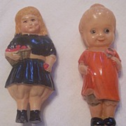 ADORABLE Vintage CELLULOID Dolls Pair Figurines Mint