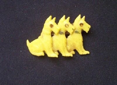 ADORABLE Vintage CELLULIOD Scottie Brooch Three Scotties with Rhinestone Eyes!