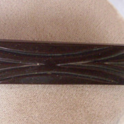 GORGEOUS Vintage BAKELITE Brooch Carved Very Deeply Art Deco Motif Chocolate Brown Bakelite