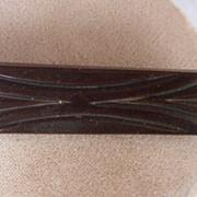 GORGEOUS Vintage BAKELITE Brooch Carved Very Deeply Art Deco Motif Chocolate Brown Bakelite