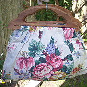 Vintage Fabric BERMUDA Handbag Purse Floral Motif Textured Cotton Mint!