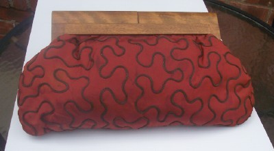 CHIC Vintage Clutch Purse Handbag, Fabric with Wooden Handle, c. 1940's-50's