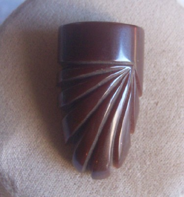 Vintage BAKELITE Dress Clip Carved Very Deeply Chocolate Brown Bakelite