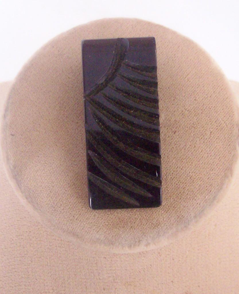 Vintage BAKELITE Dress Clip Carved Deeply Art Deco Motif Jet Black Bakelite