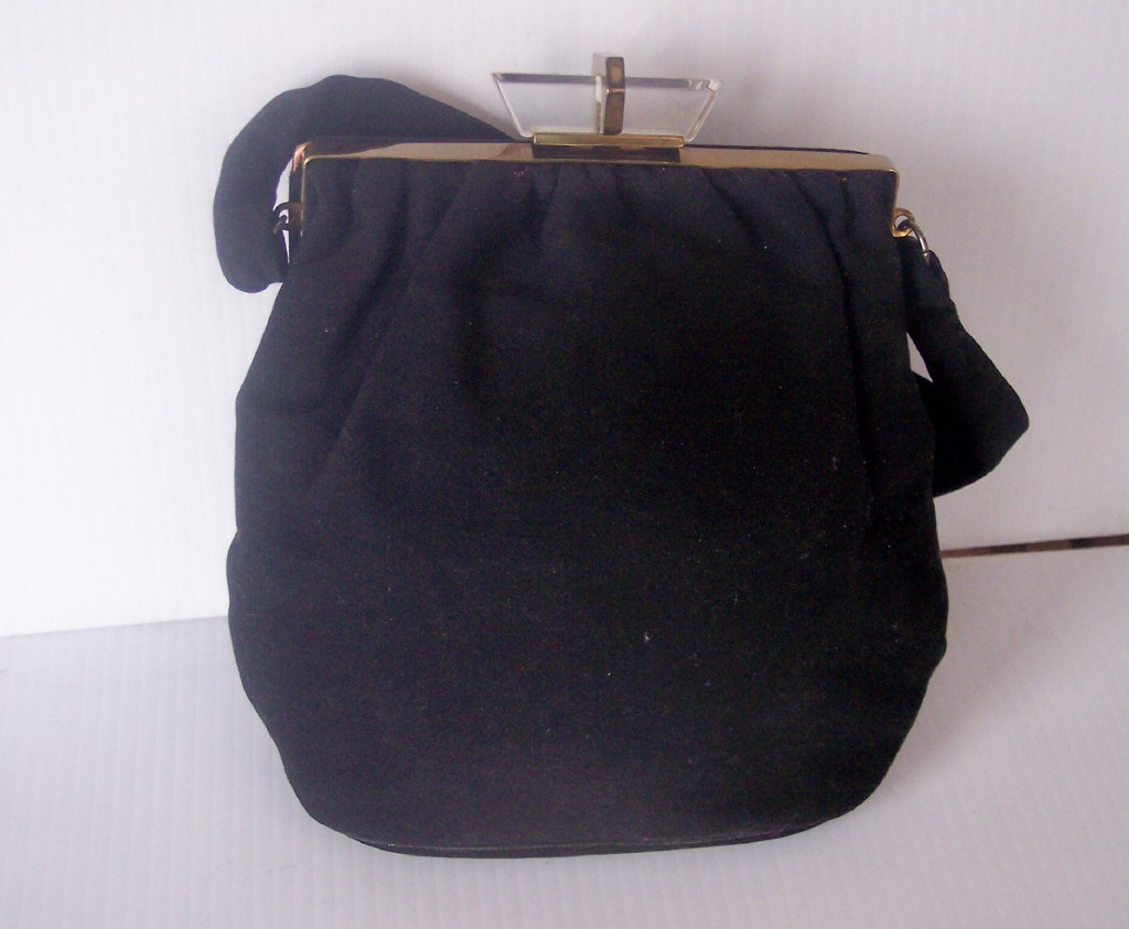 Vintage Black Wool Felt Purse Handbag with LUCITE Closure and Brass Hardware!