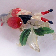 Vintage LUCITE Bird Brooch Carved with Painted Details and Rhinestones, Mint and Adorable!