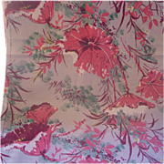 Vintage BARKCLOTH Textile Fabric Tropical Floral Motif, 2 Yards, Mint Condition!