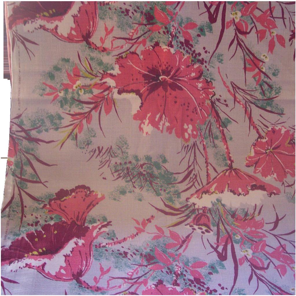 Vintage BARKCLOTH Textile Fabric Tropical Floral Motif, 2 Yards, Mint Condition!