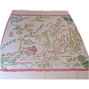 Vintage Regional State Tablecloth, Grand Traverse, MICHIGAN Mint & Unusual!